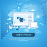 Graphic Design Web Development Template Banner With Copy Space. Vector Illustration Stock Photos