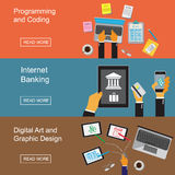 Graphic design, website developing, programming, digital art, coding, internet banking. Vector illustration in flat design for web vector illustration