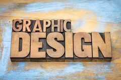 Graphic design word abstract in wood type Stock Images