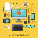 Graphic Design Workplace with Computer and Digital Tools Royalty Free Stock Photos