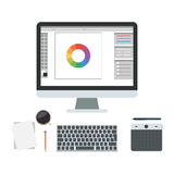 Graphic design of workplace. Studio web design, digital graphic editor. Tools for drawing, coffee cup, draw pen tablet, computer monitor. Flat design vector Stock Photography