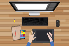 Graphic design workspace with digital sketching and monitor. Vector illustration stock illustration