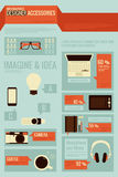 Graphic designer accessories. Infographics Royalty Free Stock Images
