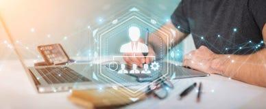 Graphic designer using business leadership chart 3D rendering. Graphic designer on blurred background using business leadership chart 3D rendering Stock Image