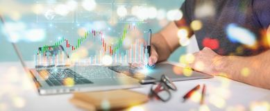 Graphic designer using 3D rendering stock exchange datas and charts. Graphic designer on blurred background using 3D rendering stock exchange datas and charts stock illustration