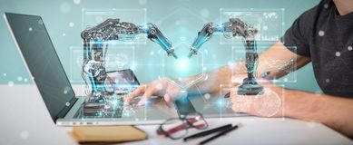 Graphic designer using robotics arms with digital screen 3D rend. Graphic designer on blurred background using robotics arms with digital screen 3D rendering Royalty Free Stock Photo
