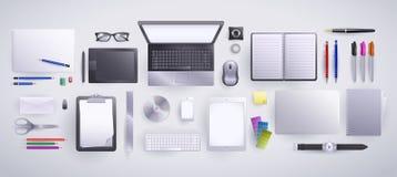 Graphic Designer and Copywriter bundle. Set of work tools used by Graphic Designers and Copywriters Royalty Free Stock Photography