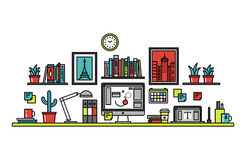 Graphic designer desk line style illustration Royalty Free Stock Photos
