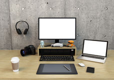 Graphic designer desktop. With DSLR camera,laptop PC and bezel-less monitor with blank space. 3D rendering image Stock Image