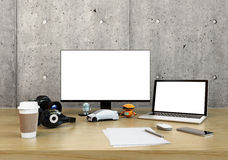 Graphic designer desktop. With DSLR camera,laptop PC and bezel-less monitor with blank space. 3D rendering image Royalty Free Stock Photography