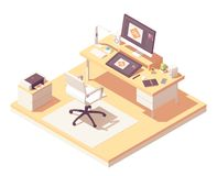 Vector isometric graphic designer workplace stock image