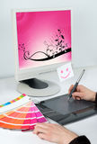 Graphic designer occupation. Work place for graphic designer Royalty Free Stock Images