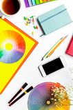 Designer office in profession concept on desk background top vie royalty free stock image
