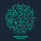 Graphic designer profession pattern with turquoise linear icons. Graphic designer profession round shape pattern with turquoise linear icons. Line style graphic Royalty Free Stock Photo