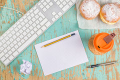Graphic designer rustic tabletop workspace Stock Photography