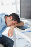 Graphic designer sleeping on his keyboard Royalty Free Stock Photo