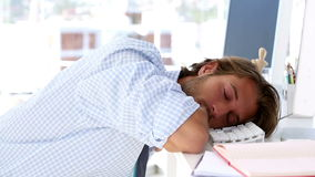 Graphic designer sleeping stock footage