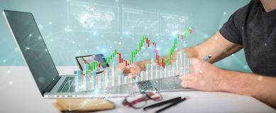 Graphic designer using 3D rendering stock exchange datas and cha. Graphic designer on blurred background using 3D rendering stock exchange datas and charts Royalty Free Stock Images
