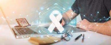 Graphic designer using digital ribbon cancer interface 3D render. Graphic designer on blurred background using digital ribbon cancer interface 3D rendering Stock Photos