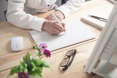 Graphic designer using drawing tablet in office royalty free stock photos