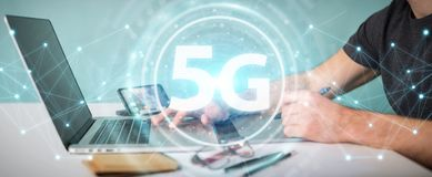 Graphic designer using 5G network interface 3D rendering. Graphic designer on blurred background using 5G network interface 3D rendering Royalty Free Stock Photos