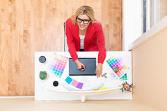 Graphic designer using her graphic tablet Stock Images