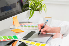 Graphic designer at work. Color samples. Graphic designer at work. Color swatch samples stock photo