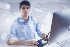 Graphic designer at work Royalty Free Stock Photo