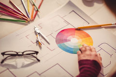 Graphic designer working at desk. In office royalty free stock images