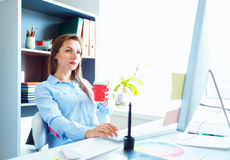 Graphic designer working at the home office - modern business co. Media worker working at the home office - modern business concept stock image