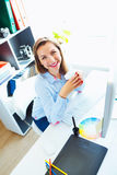 Graphic designer working at the home office - modern business co. Media worker working at the home office - modern business concept royalty free stock photos