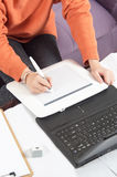 Hands on graphic tablet Stock Photo