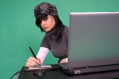 Graphic designer working with tablet pen. Stock Photography