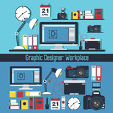 Graphic Designer Workplace Concept Stock Photography