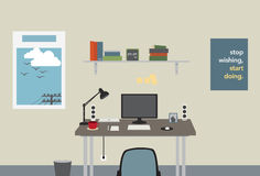 Graphic Designer Workspace. Home Studio Desk with designer equipment Stock Photography