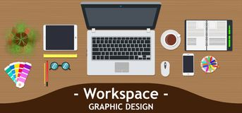 Graphic designer workspace office. Creative desk work vector. Business design art table studio concept top view. Flat color backgr. Ound technology. Inspiration vector illustration
