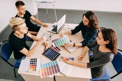 Graphic designers working at creative office royalty free stock images