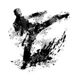 Grunge karate kick vector and png transparency stock illustration