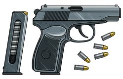 Free Graphic Detailed Handgun Pistol With Ammo Clip Stock Image - 153637071