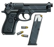 Free Graphic Detailed Handgun Pistol With Ammo Clip Stock Image - 153637231