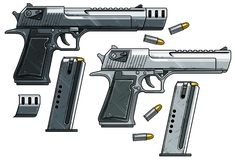 Free Graphic Detailed Handgun Pistol With Ammo Clip Stock Image - 153637281