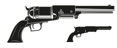 Graphic detailed silhouette old revolver. Graphic black and white detailed silhouette old revolver. Isolated on white background. Vector icon vector illustration