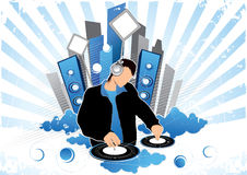 Graphic of disc jockey. Artistic graphic of disc jockey with records, speakers, and other musical elements Stock Photography