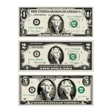 In this graphic, the 1 and 2 dollar bills are mereged Stock Photo