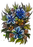 Graphic drawing of beautiful flowers Royalty Free Stock Image