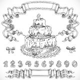 Graphic drawing birthday cake and decorative design elements Royalty Free Stock Photography