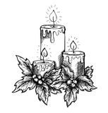 Graphic drawing candles and holly berries and leav Stock Images
