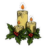 Graphic drawing candles and holly berries leaves.  Stock Photo