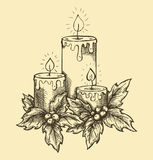 Graphic drawing candles holly berries and leaves.  Stock Image