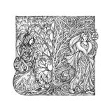 Graphic drawing, the concept of the changing seasons. Royalty Free Stock Photography